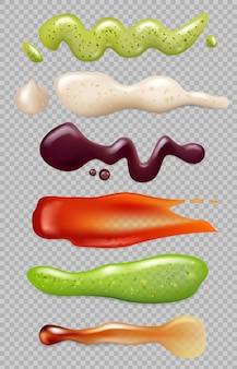 Soße realistisch. flüssiges essen spritzt mayonnaise-ketchup-chili, das vektorvorlagen für gourmetküchenzutaten isst. realistische saucenflüssigkeit, mayonnaisecreme, ketchup und scharfe wasabi-illustration