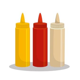 Soßen stellten flaschenikonenvektor-illustrationsdesign ein