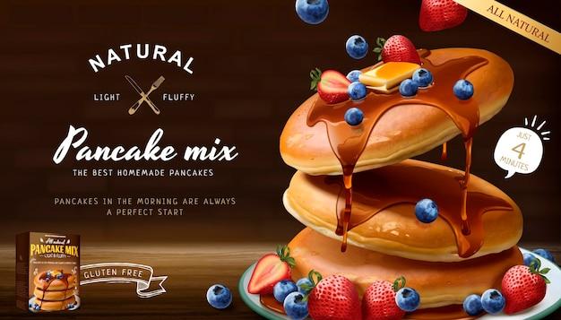 Souffle pancake mix banner mit frischen früchten und honigsauce im 3d-stil