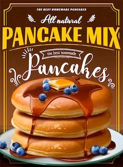 Souffle pancake mix banner mit tropfendem honig im 3d-stil