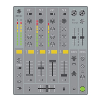 Sound-dj-mischer des flachen designs des vektors mit knöpfen und schiebern