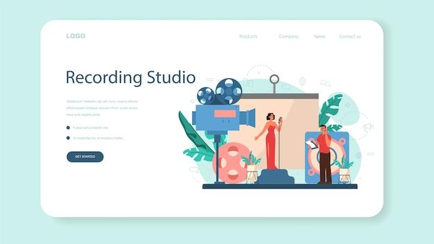 Sound engineer web-banner oder landing page. musikproduktionsindustrie, ausrüstung für tonaufnahmestudios. ersteller eines filmsoundtracks.