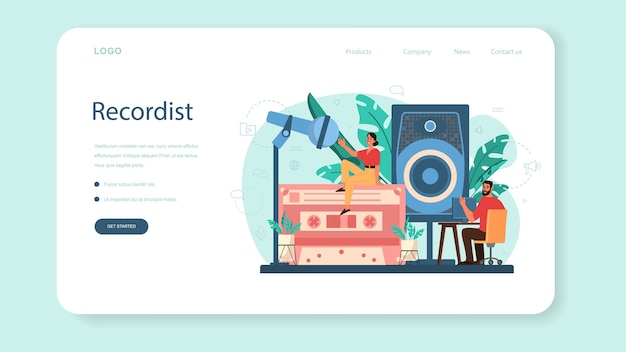 Sound engineer web-banner oder landing page.