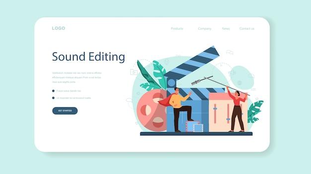 Sound engineer web landing page. musikproduktionsindustrie, ausrüstung für tonaufnahmestudios. ersteller eines filmsoundtracks. vektorillustration im karikaturstil