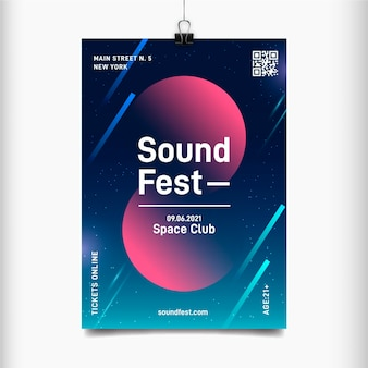 Sound fest abstrakter flyer für musikevent