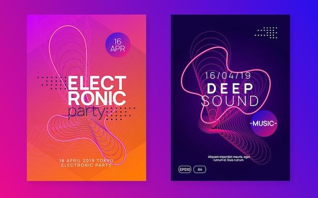Sound-flyer. energie-konzert-banner-set. dynamisch fließende form und linie. neon-sound-flyer. electro-dance-musik. elektronische festveranstaltung. club-dj-poster. techno-trance-party.