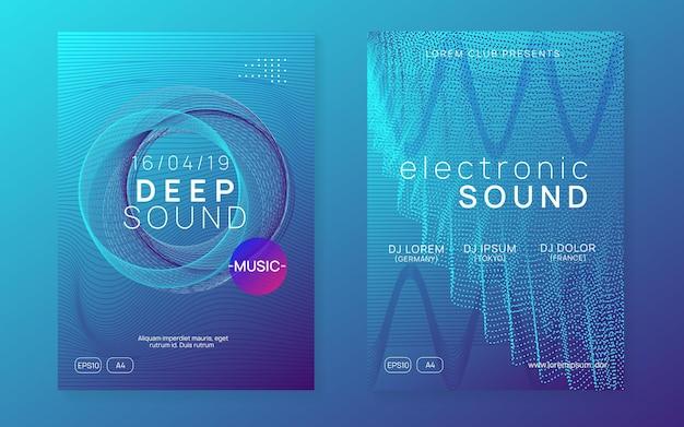 Sound-flyer. moderne diskothek-banner-set. dynamisch fließende form und linie. neon-sound-flyer. electro-dance-musik. elektronische festveranstaltung. club-dj-poster. techno-trance-party.