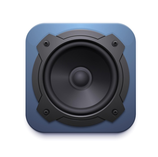 Sound-lautsprecher-symbol, audio-musik-stereo-system vektor 3d-zeichen auf weißem hintergrund. gestaltungselement für mobile anwendung oder website, ui-grafik, lautstärketaste für audioplayer-app