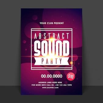 Sound music party flyer, schablonenentwurf. kreative abstrakten hintergrund mit goldenen lens flare effekt.