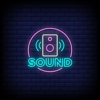 Sound neon zeichen stil text
