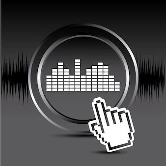 Sounddesign über schwarzem hintergrund vektor-illustration