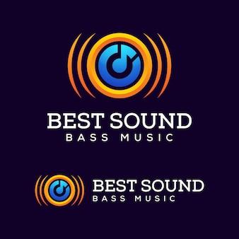 Soundsystem lautsprecher bassmusik für elektronisches logo-design, beste musik-logo-vorlage