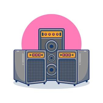 Soundsystem und lautsprecher cartoon illustration