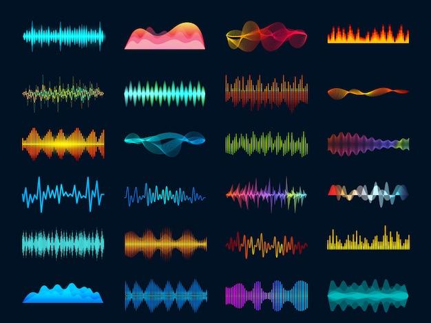 Soundtracksignalspektrum und studiomelodie schlagen vektorfrequenzmesserkonzept auf dunklem hintergrund