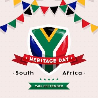South africa heritage day - 24. september - quadratische fahnenschablone mit den südafrikanischen flaggenfarben auf hellem hintergrund. afrikanische kultur, überzeugungen und traditionen feiern und ehren