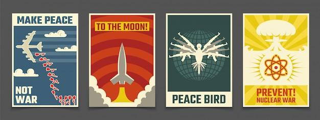 Sowjetischer antikrieg, friedliche propagandavektor-weinleseposter