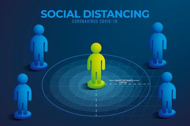 Sozial distanzierende infografik mit infiziertem grünem charakter