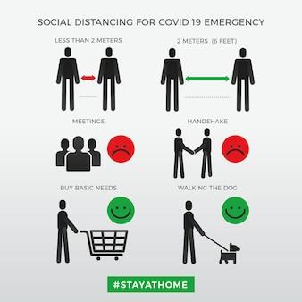 Sozial distanzierende infografiken