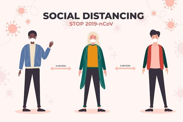 Sozial distanzierendes coronavirus-konzept