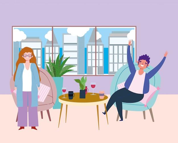 Sozial distanzierendes restaurant oder ein café, frau stehend und mann sitzend mit getränken