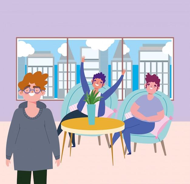 Sozial distanziertes restaurant oder ein café, fröhliche gruppenmänner charaktere