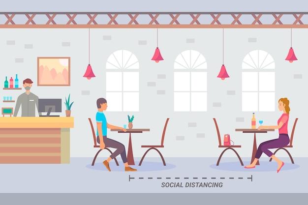Sozial distanziertes restaurant