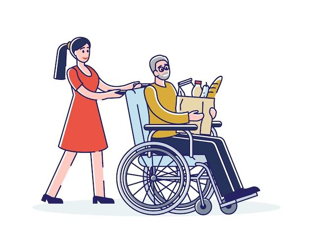 Sozialarbeiter, der alten mann auf rollstuhl mit lebensmitteleinkauf hilft