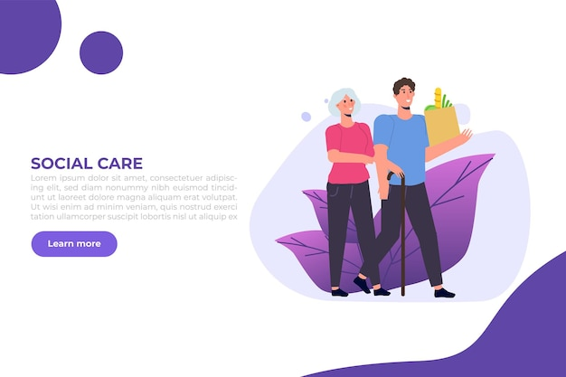 Sozialarbeiter oder freiwillige betreuung älterer menschen.