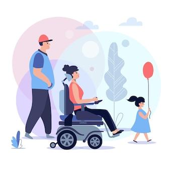 Soziale anpassung von behinderten menschen, unterstützung für behinderte menschen, rollstuhlfahrer, die zeit mit der familie verbringen, illustration des behinderten rehabilitationskonzepts
