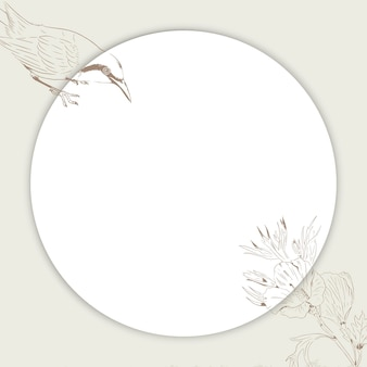 Soziale anzeigen mit rundem vogel- und blumenrahmen
