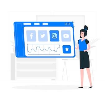 Soziale dashboard-konzeptillustration