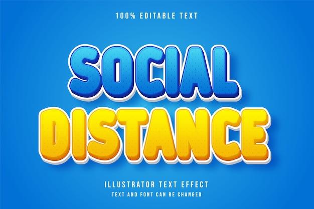 Soziale distanz, 3d bearbeitbarer texteffekt blaue abstufung gelber comic-stileffekt