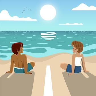Soziale distanz am strand