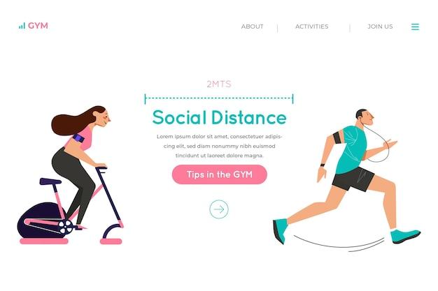 Soziale distanz auf der landingpage des fitnessstudios