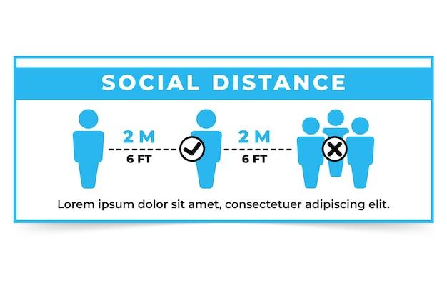 Soziale distanz banner zeichenvorlage