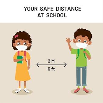 Soziale distanz bei der schulillustration. neues normales lifestyle-konzept. glückliche kinder tragen gesichtsmaske und soziale distanzierung