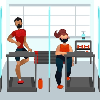 Soziale distanz im fitnessraumkonzept