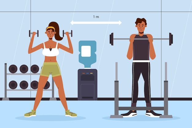 Soziale distanz im fitnessstudio