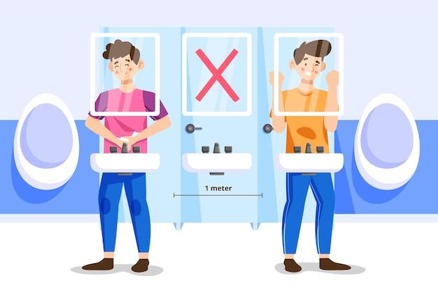 Soziale distanz im konzept der öffentlichen toiletten