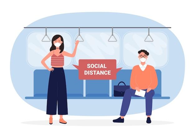 Soziale distanz in der infografik des öffentlichen verkehrs