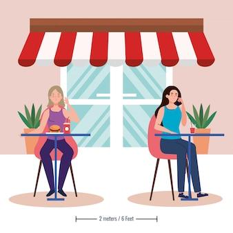 Soziale distanz in neuem konzept restaurant, frauen auf tischen, schutz, prävention von coronavirus covid 19
