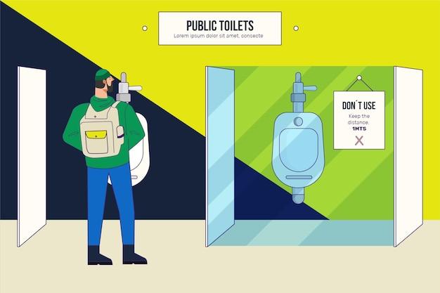 Soziale distanz in öffentlichen toiletten