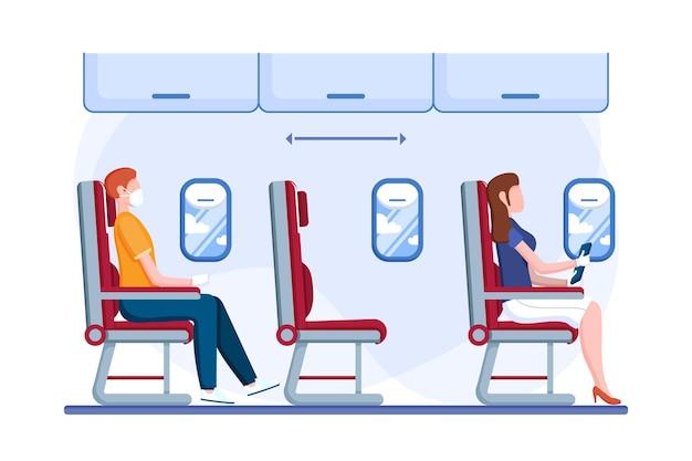 Soziale distanz zwischen passagieren