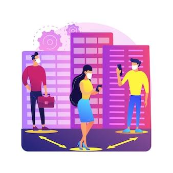 Soziale distanzierende abstrakte konzeptillustration. auswirkungen des weltweiten coronavirus-ausbruchs, selbstisolierung, erzwungene quarantäne, kommunikationsverbot, zu hause bleiben, ihren beitrag leisten.