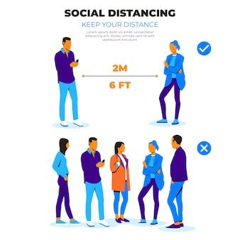 Soziale distanzierende infografik mit menschen