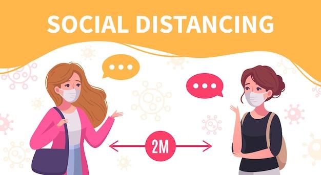 Soziale distanzierende karikaturplakat mit zwei frauen, die kommunizieren, bleiben zwei meter voneinander entfernt