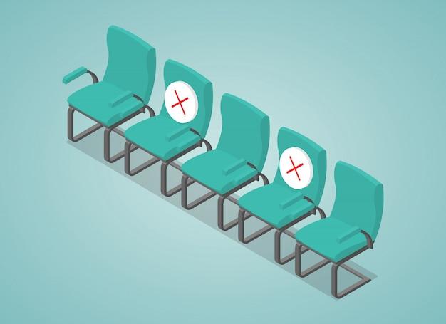 Soziale distanzierende konzeptillustration mit stuhlraum dazwischen mit modernem isometrischem stil