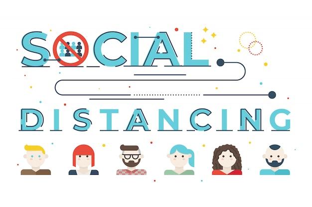 Soziale distanzierende wortbeschriftungsillustration