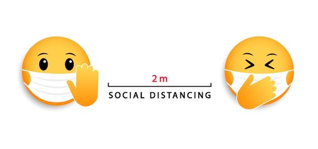 Soziale distanzierung 2 m. emoticons für medizinische masken. symbol für coronavirus.