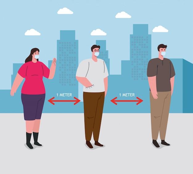 Soziale distanzierung, abstand in der öffentlichen gesellschaft zu menschen, die vor covid-19 schützen, menschen, die im stadtbild eine medizinische maske gegen coronavirus tragen